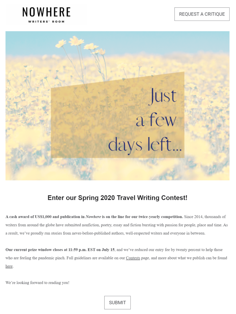 Nowhere Magazine email content example